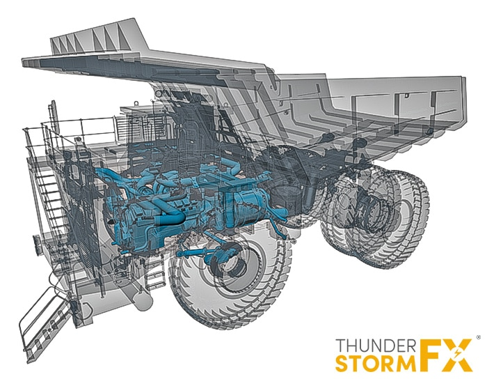Technical 3d product visualisation of a heavy duty dump truck.