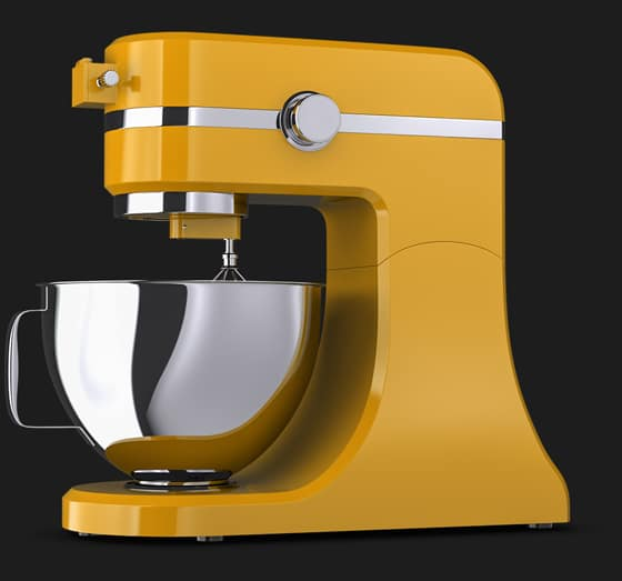 Photo-realistic 3D product visualisation of a yellow food blender,