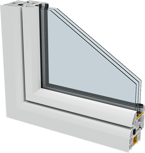 Technical 3d product visualisation of a window frame cross section.