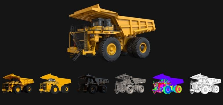 Image showing a 3D product visualisation of a large quarry vehicle separated into individual render passes.