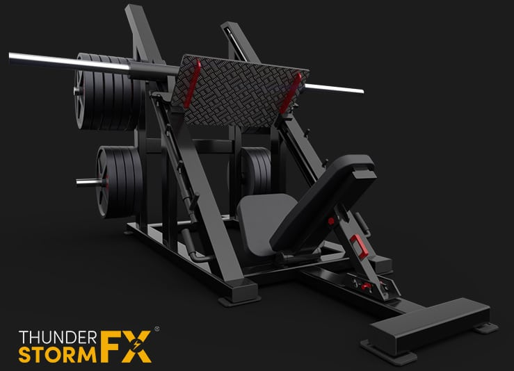 3D rendered visualisation of a leg press.