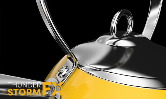 3D rendered visualisation of a bright yellow kettle.