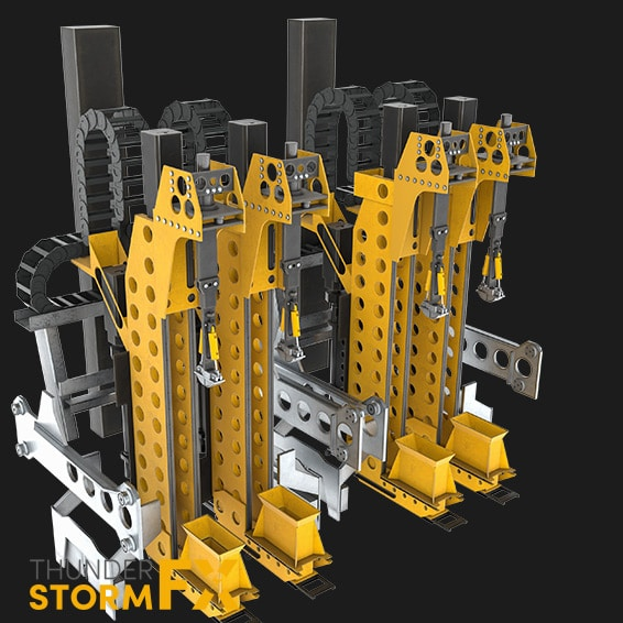 3D rendered visualisation of manufacturing equipment.