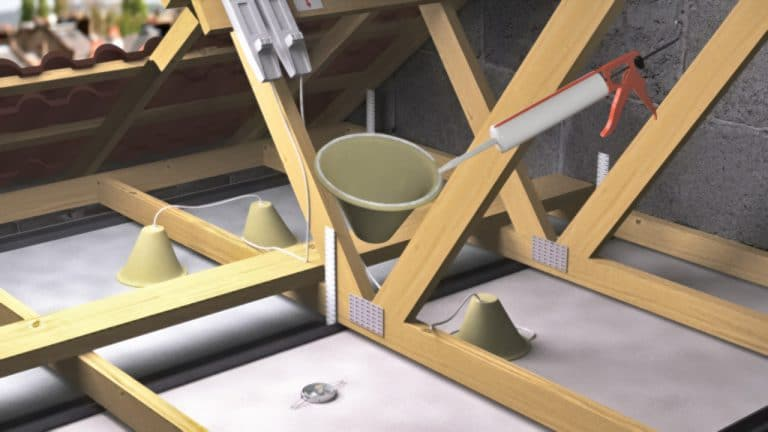 3D rendered visualisation showing the installation of a passive fire protection product.