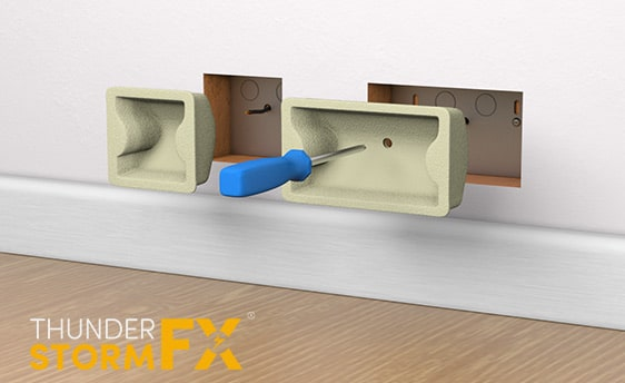 3D rendered visualisation showing the installation of a pair of socket covers.