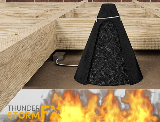 3D rendered visualisation of a passive fire protection product.