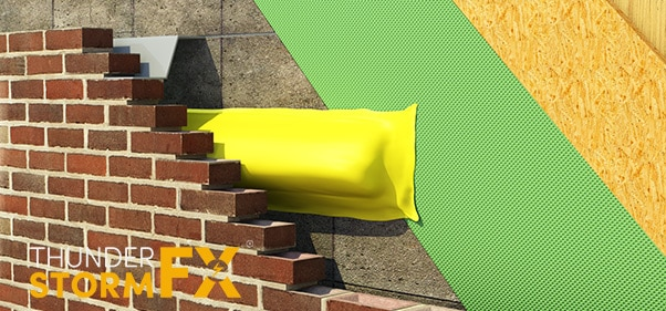 3D rendered visualisation of fire barrier in place on a brick wall.