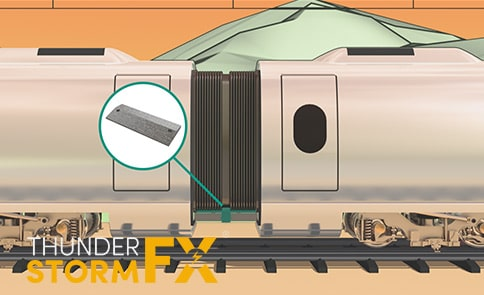 Stylised 3D rendered visualisation of a train.