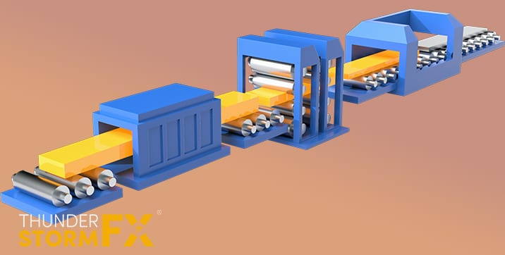 3D rendered visualisation of a steel industry process.