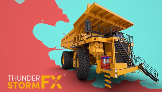 3D rendered visualisation of a quarry vehicle.