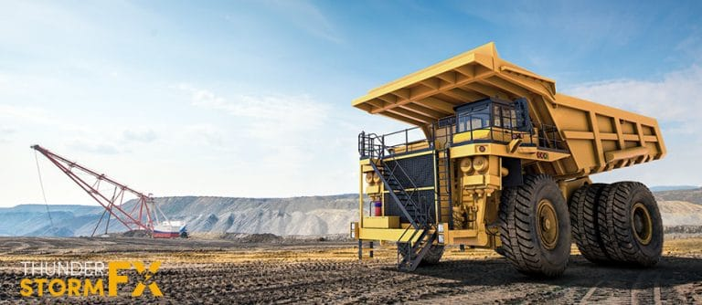 3D rendered visualisation of a quarry dump truck.