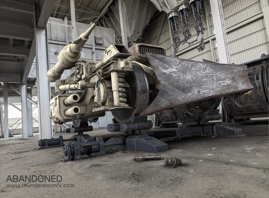 3D Concept artwork of a futuristic military machine in an abandoned warehouse