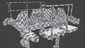 Image showing the 3D UV mapping of a large manufacturing machine model.