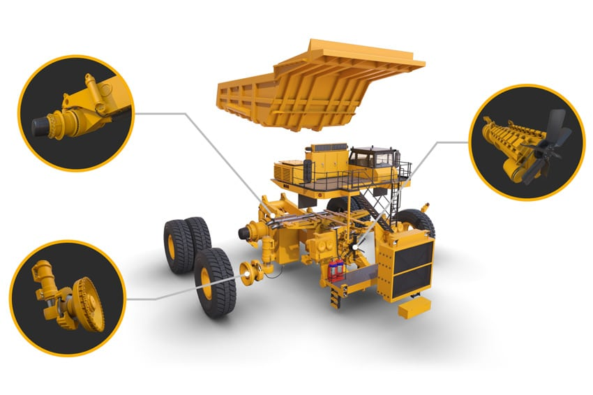 Exploded view 3D render of a huge quarry vehicle and components.