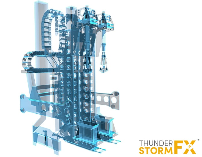 Engineering 3D render of a manufacturing machine.
