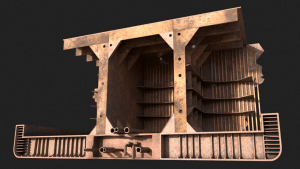 3d visualisation and concept artwork of a decaying, rusting tanker ship.